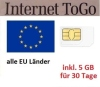 Simcard for Europe with 5 GB/30 days